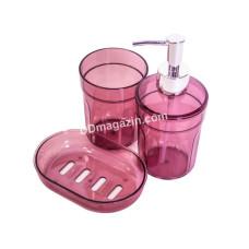 Набор аксессуаров для ванной комнаты MOON (3 предмета), прозрачный бордовый TRL-2032-TM