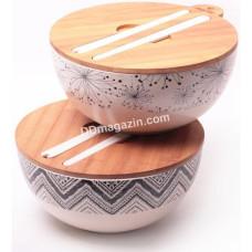 Миска из бамбукового волокна 27*12.2см с бамбуковой крышкой и кухонь принадлежностями (вид узора: орнамент, цветы) KM-4384