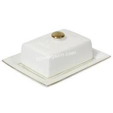 Масленка фарфоровая Interos Снежная королева белая квадратная