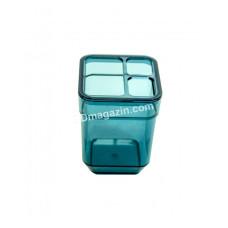 Стакан для зубных щеток CUBE, прозрачный бирюзовый (с отверстиями) TRL-8025-TT