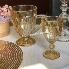 """Набор подарочный """"Зеркальный изумруд"""" золотистый (6 бокалов 300мл, кувшин 1л) 7пр"""