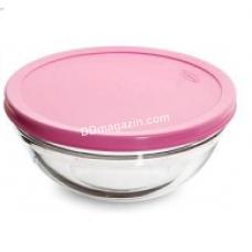Набор салатников Pasabahce Шефс d-17 см, с розовой крышкой, 2 шт