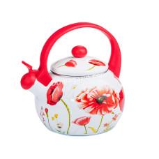 Чайник эмалированный Interos RED HANDLE 2,2 л со свистком, пластиковая ручка