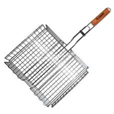 Решетка для гриля глубокая, 31*25*5,5 см, с деревянной ручкой KM-0704
