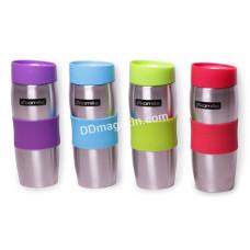 Чашка-термос 380 мл Kamille из нерж. стали с TPR-вставкой (салатовая, фиолетовая, голубая, красная) KM-2053R
