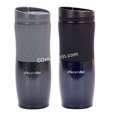 Чашка-термос 500 мл Kamille из нержавеющей стали с TPR вставкой (синий, серый) KM-2047