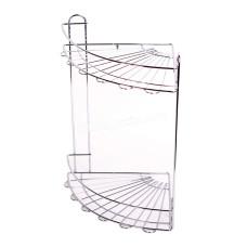 Полочка в ванную комнату 2-х ярусная Besser угловая, 29,5*22*33 см (хромированная сталь)