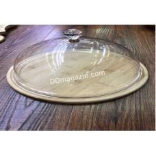 Блюдо с акриловой крышкой Helios d-30 см, бамбук