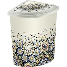 Корзина для белья угловая 53 л Elif Plastic с рисунком, 40*53*55 см (мозаика)