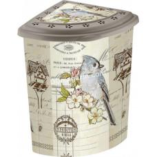 Корзина для белья угловая 53 л Elif Plastic с рисунком, 40 * 53 * 55 см (птицы)
