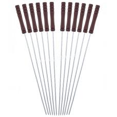 Шампуры Скаут 38*0,25 см, набор по 6 шт., Угловой с деревянной ручкой KM-0744
