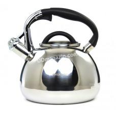 Чайник Kamille 3,0 л из нержавеющей стали со свистком и черной бакелитовой ручкой KM-0674