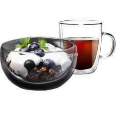 Набор для завтрака Ardesto, чашка 270 мл и пиала 500 мл, с двойными стенками, боросиликатное стекло AR2650BG