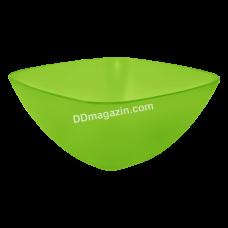Салатница глубокая 24*24*9,5 см. (салатовый прозрачный)