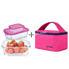 Набор емкостей Luminarc Keep`n Box для еды прямоугольных (1220 * 820 * 380 мл) 3 шт с термосумкой