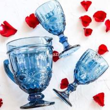 """Набор """"Винтаж"""" (6 бокалов + кувшин), синий"""
