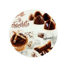 Блюдо стеклянное круглое Interos Шоколад d-30 см