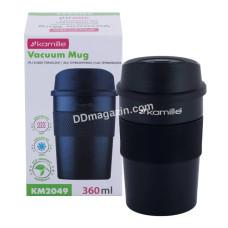 Чашка-термос 360 мл Kamille из нержавеющей стали с TPR вставкой KM-2049