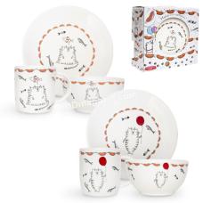 Набор для завтрака 3пр. S&T Cat story (тарелка - 20 см, чашка - 360мл, пиала- 500 мл) (1591-11)