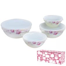 Набор салатников S&T Розовая орхидея с крышкой 4шт. (7*6*5*4,2), стеклокерамика (30054-61099)