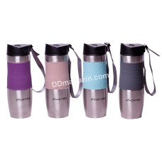 Чашка-термос 480 мл Kamille нерж с мягкой вставкой и ремешком (ЦВЕТ) KM-2051