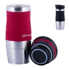 Чашка-термос 380 мл Kamille из нержавеющей стали с TPR-вставкой (черная, красная) KM-2069