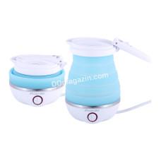 Чайник электрический Kamille силиконовый 0,8 л., Голубой с белым KM-1724