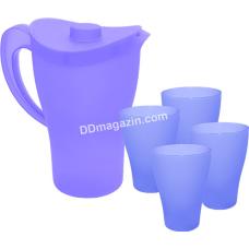 """Набор посуды """"Кувшин и стаканы""""*12 (фиолетовый прозрачный) 169041"""