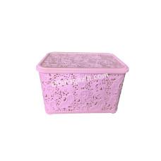 """Корзина для бытовых вещей 12л """"Ажур"""", 29,6*39,6*12,7 см (розовый)"""