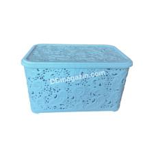 """Корзина для бытовых вещей 18л """"Ажур"""", 29,6*39,6*19,4 см (голубой)"""