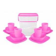 """Набор посуды для пикника Алеана """"Подарочный"""" (темно-розовый / темно-сиреневый) 169042"""
