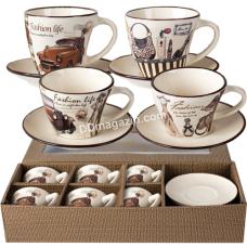 Сервиз чайный S&T Fashion 12пр. (Чашка-240мл, блюдце d-14.5см) (1517-06)