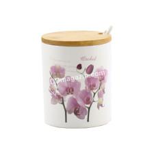 Банка керамическая Interos Орхидея розовая 350 мл с ложкой и деревянной крышкой