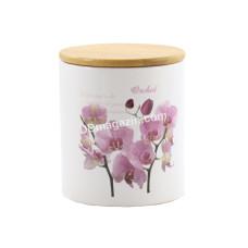 Банка керамическая Interos Орхидея розовая 850 мл с деревянной крышкой