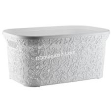 """Корзина для белья 47 л, Elif Plastic """"Ажур"""", 35 * 54 * 25 см (белый)"""