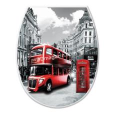 Сиденье на унитаз пластиковое Elif Plastic с рисунком (лондон)