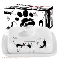 Масленка керамическая S&T Черная кошка 13*18см h-5,5 см (3397-12)