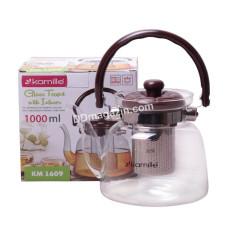 Чайник-заварник Kamille 1000 мл, съемное ситечко, стекло, пластик KM-1609