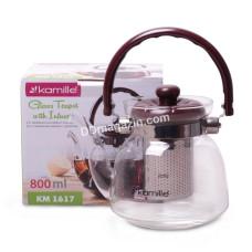 Чайник-заварник Kamille 800 мл, съемный ситечко, стекло, пластик KM-1617