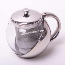 Чайник-заварник Kamille 500 мл, съемное ситечко, стекло, нержавеющая сталь KM-1624