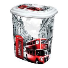 Корзина для белья 45 л, Elif Plastic с рисунком, 38*45*53 см (лондон)