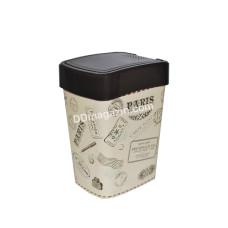 "Мусорное ведро ""Евро"" 18л с декором (коричневый, Париж) 121067"
