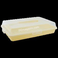 Тортовница прямоугольная 44*30*9,5 см с крышкой на 4-х защелках (желтая) 169057