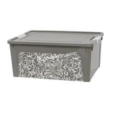 """Контейнер универсальный """"Smart Box"""" с декором 27 л. Home 49,4*32,2*26,5 см (какао/белая роза) 124058"""