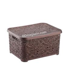 """Корзина для бытовых вещей 6,0 л. Elif Plastic """"Ажур"""", 21*29*12 см (коричневая)"""