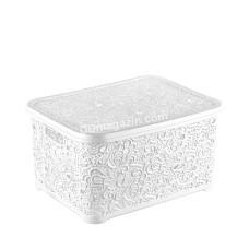 """Корзина для бытовых вещей 10 л Elif Plastic """"Ажур"""" 25*34,5*16 см (белый)"""