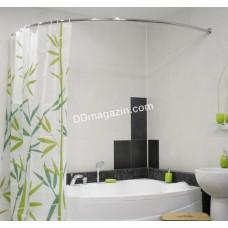 Карниз в ванную комнату Wela, дуговой, 105*150 см, 0,27 см алюминиевый, серебристый