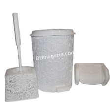 """Набор в ванную комнату Elif Plastic """"Ажур"""" (ерш, мусорное ведро, держатель) (коричневый)"""