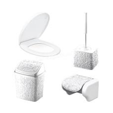 """Набор в ванную комнату Elif Plastic """"Ажур"""" (ерш, мусорное ведро, держатель, сиденья) (белый)"""