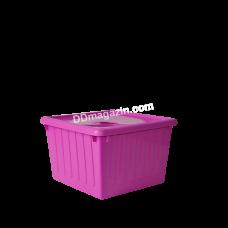 Контейнер с крышкой для хранения вещей  25 л (темно-розовый) 122043